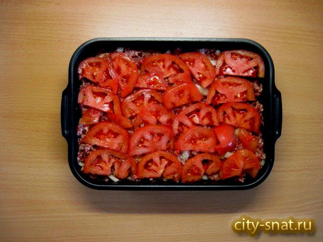 картошка фарш помидоры сыр в духовке